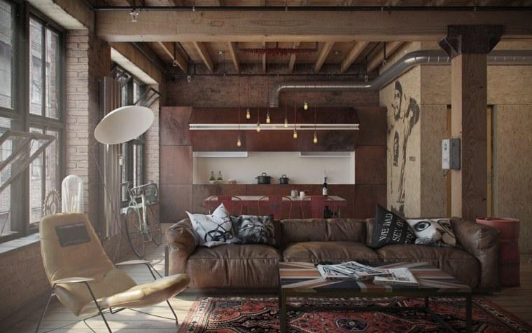 original diseño de salón estilo industrial