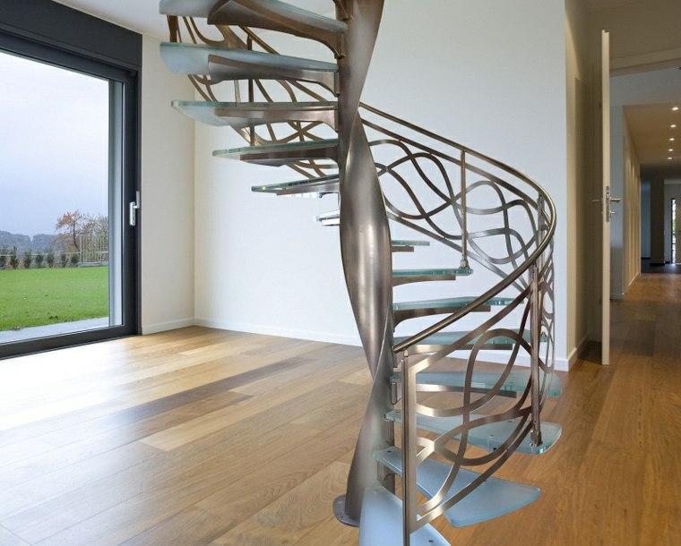 escalera caracol-aluminio-cristal-interiores
