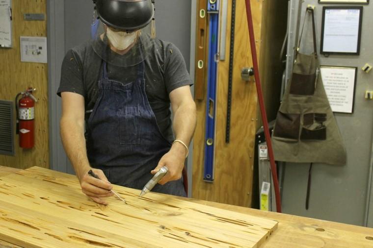 Excavar la madera en putrefacción y los hongos