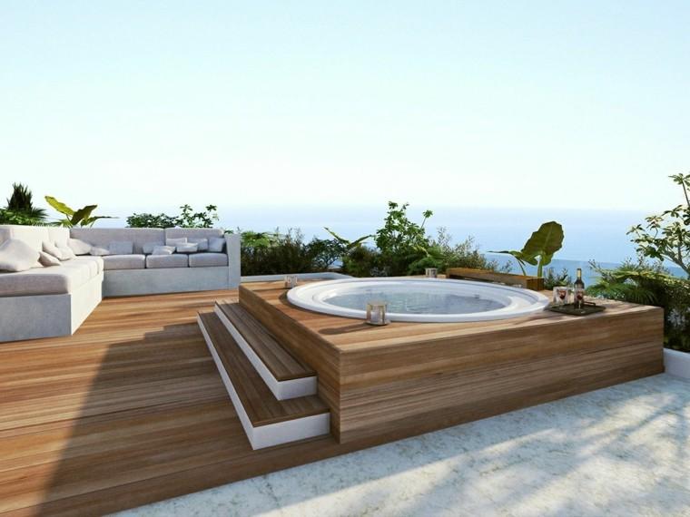 Decoracion de terrazas modernas con diferentes elementos - Jacuzzi para terrazas ...