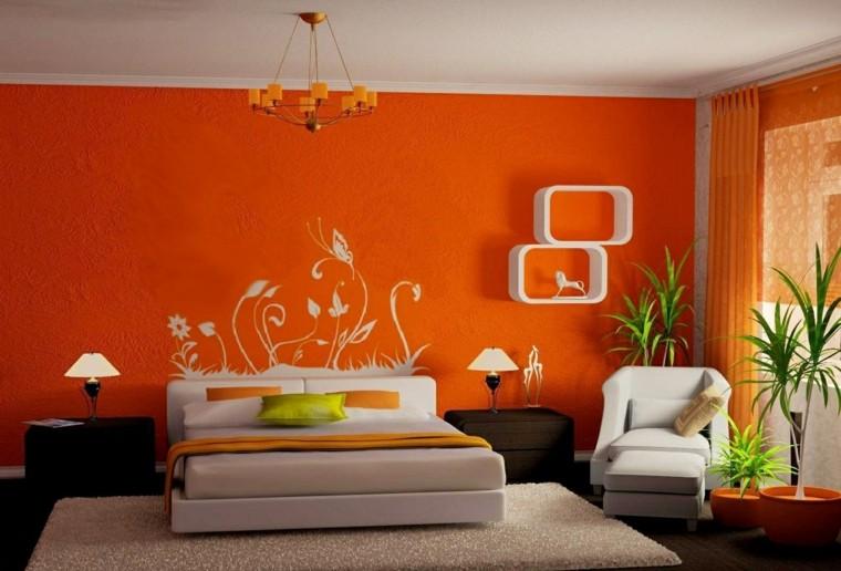habitaicones modernas-blanco-naranja