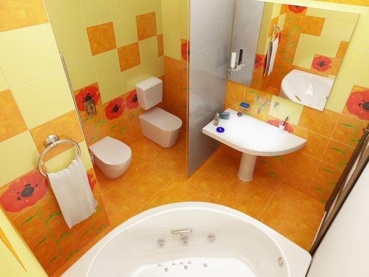 ideas para banos pequenos-naranja-amarillo