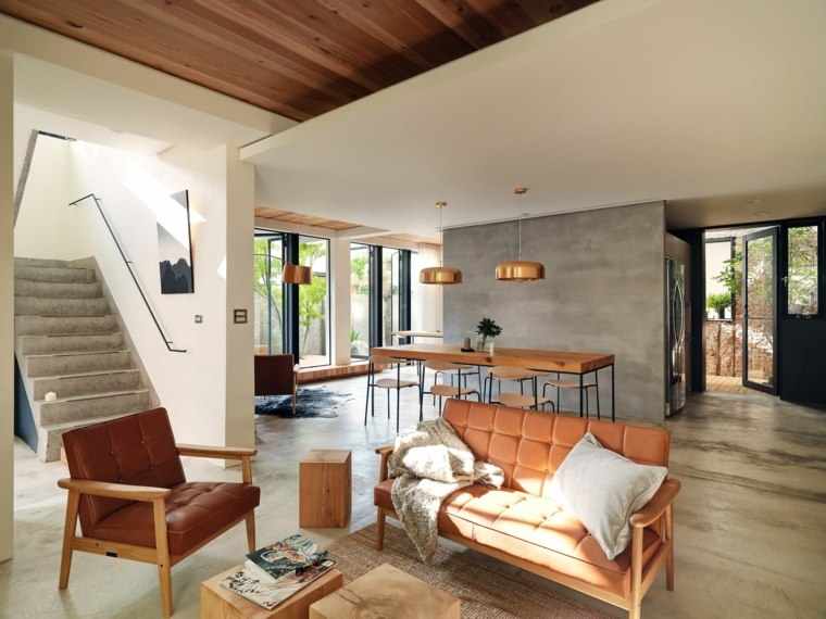 diseño de sala de estar estilo wabi sabi