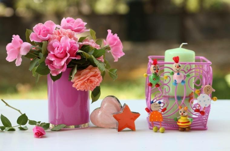 mesas de jardin-originales-velas-flores
