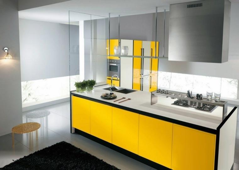 modelos de cocinas-minimalistas-amarillo
