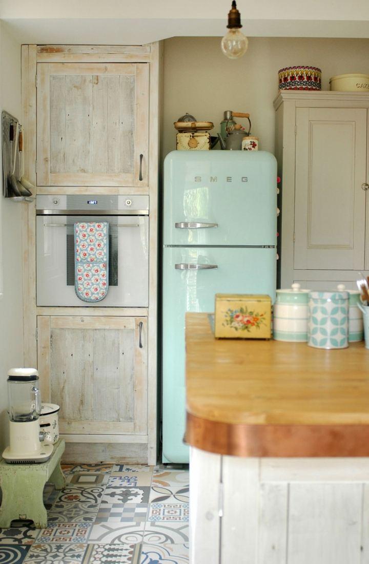 muebles vintage refrigerador pastel