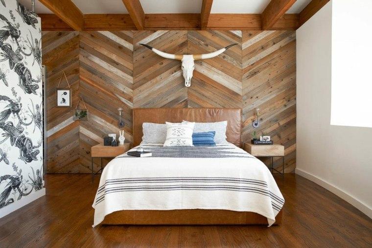paredes decoradas-enlosado-madera-dormitorio