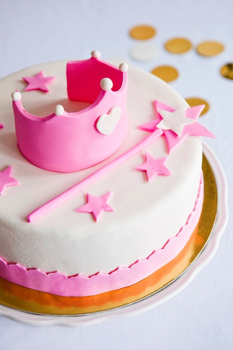 pasteles para niñas-blanco-rosa-estrellas-corona-princesa