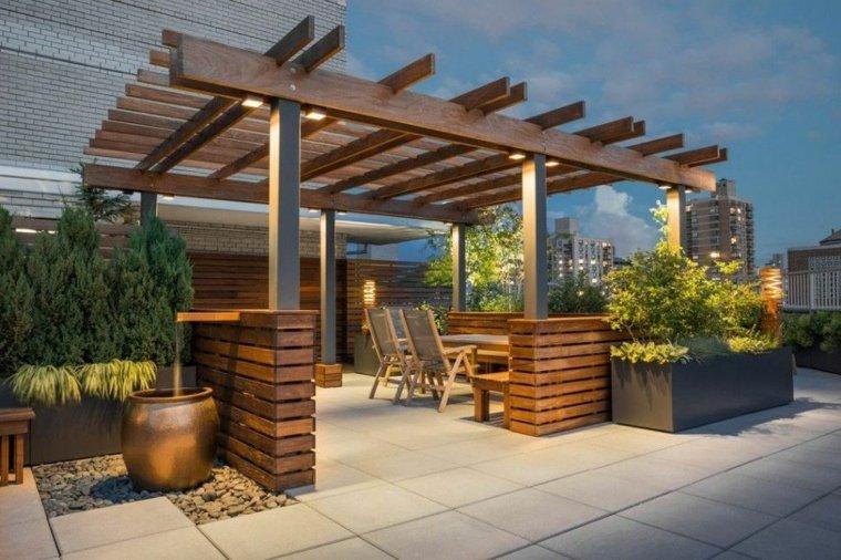 pergolas de madera-modernas-contemporaneas-jardin