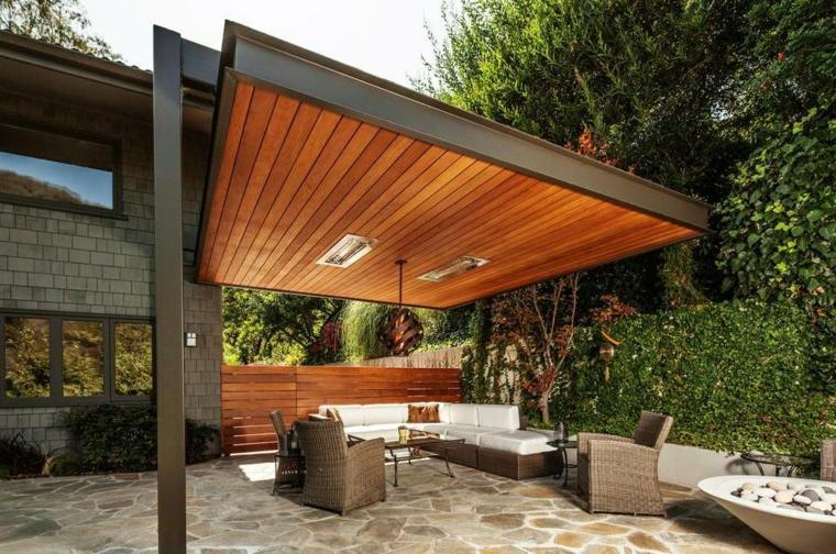 pergolas de madera-modernas-decorar-jardin