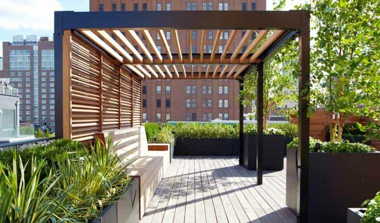 pergolas de madera-modernas-decorar-jardines