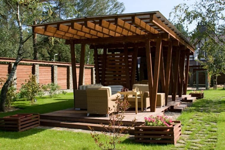 pergolas para jardin-madera-clasico-moderno