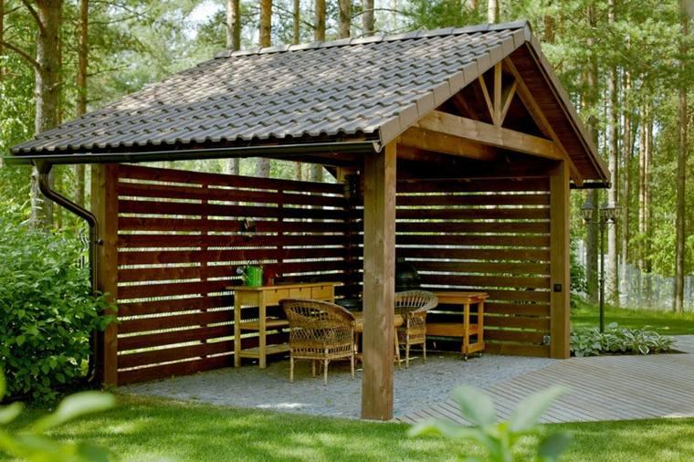 porche modernos-casicos-madera-jardin