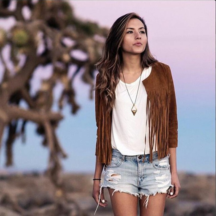 ropa casual-chaqueta-flecos-mujer