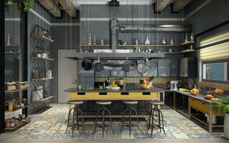 diseño de cocina estilo industrial