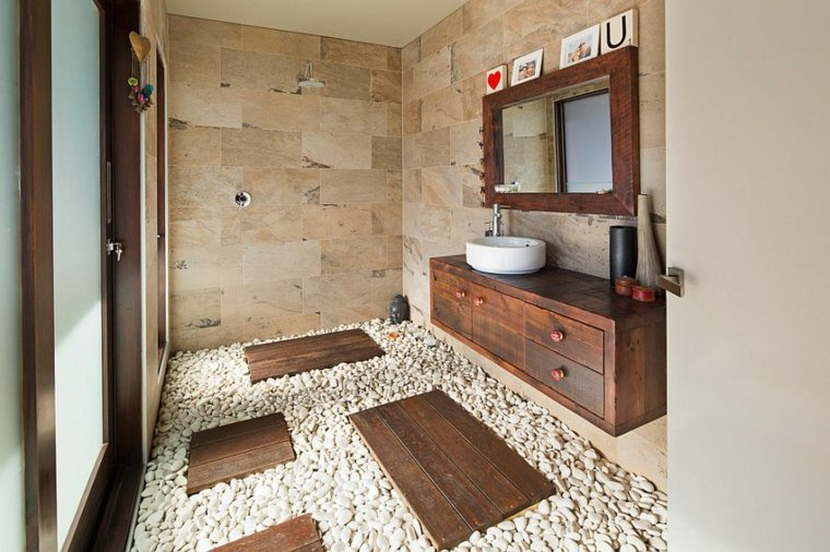 Ideas decorativas con piedra y madera