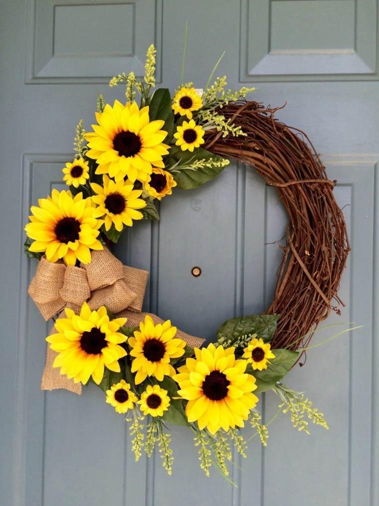 arreglos de girasoles-decorar-puerta-entrada