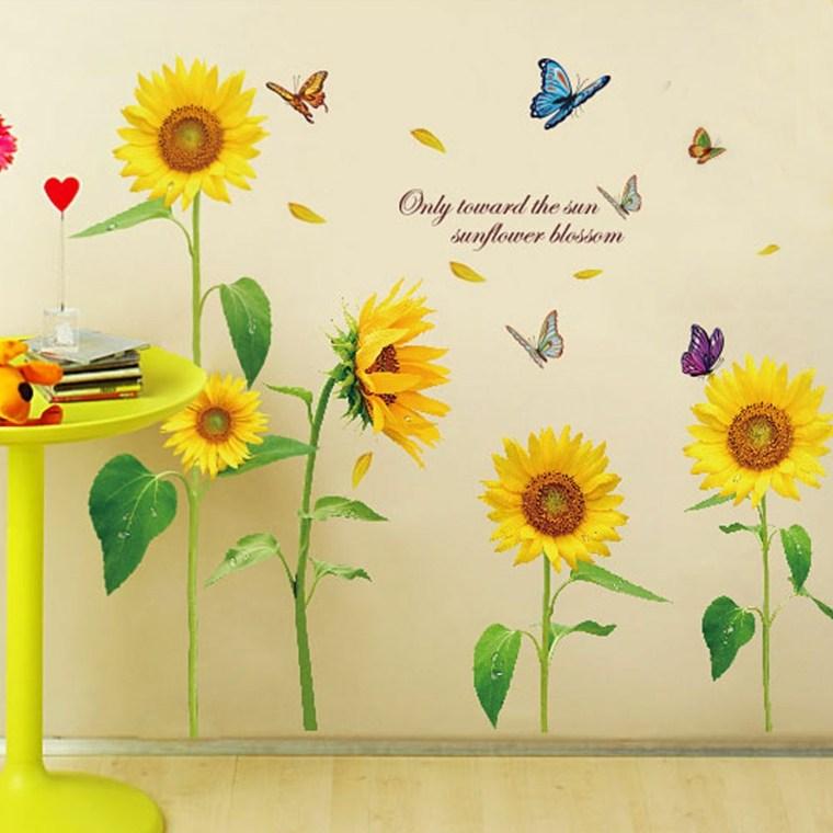 arreglos de girasoles-vinilos-decorar-paredes