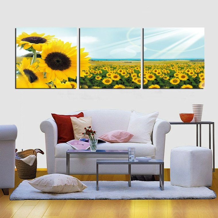 arreglos florales grandes-decorar-pared-girasoles