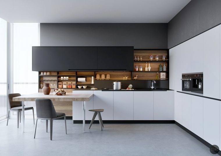 cocina-blanco-negro-madera-diseno