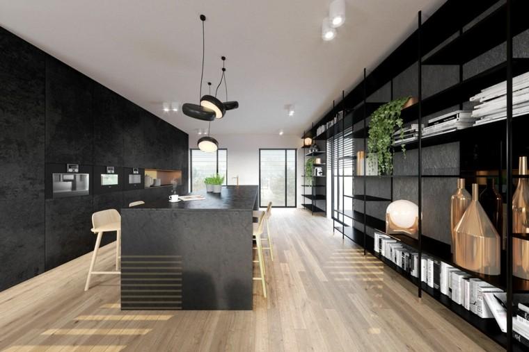 cocina-larga-estrecha-suelo-madera-isla-negra