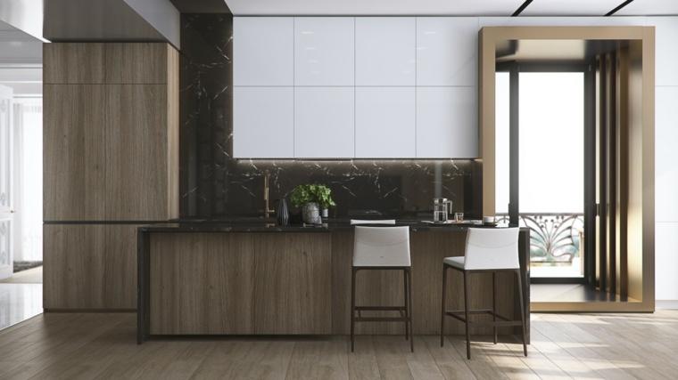 cocina-madera-salpicadero-lujo-marmol-negro