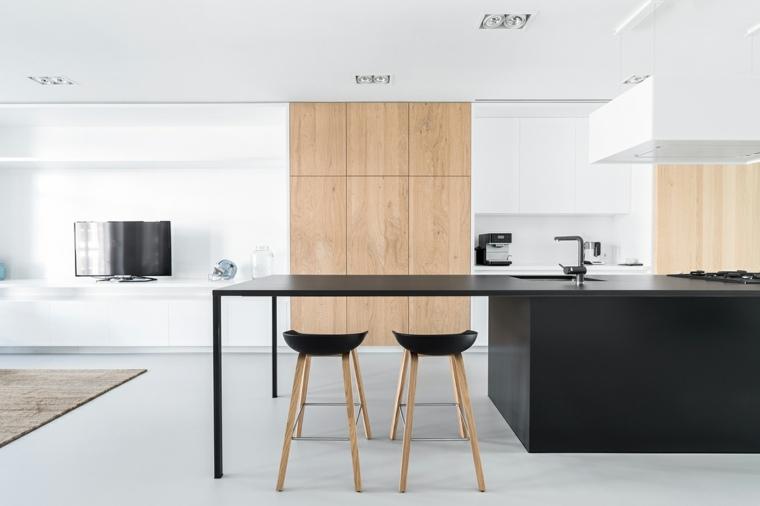 cocina-muebles-negro-madera-ideas