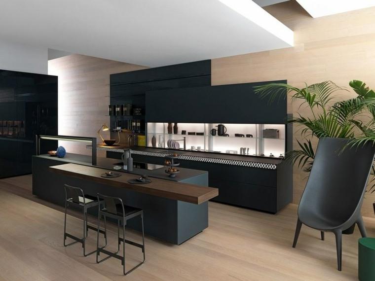 cocina-negro-detalle-madera-color-oscuro