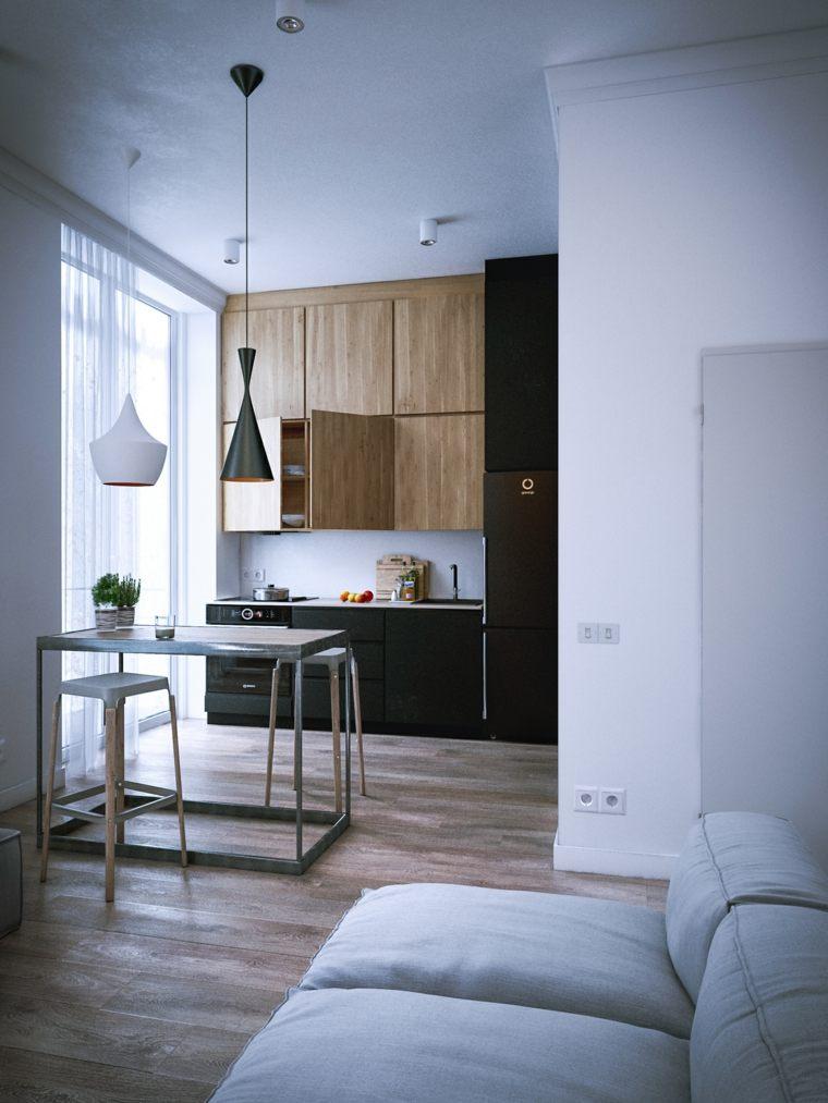 cocina-pequena-negro-madera-opciones-apartamento