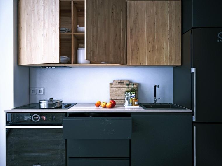 cocina-pequena-negro-madera-opciones
