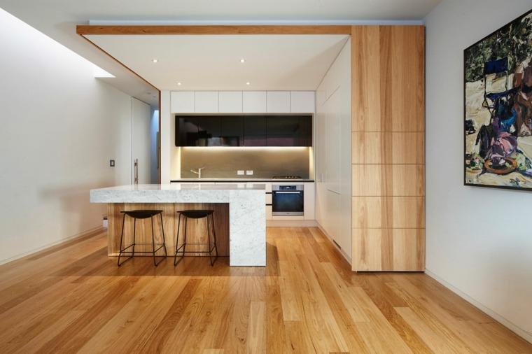 cocina-suelo-madera-muebles-blancos-ideas