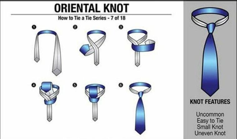 como poner una corbata-oriental-knot