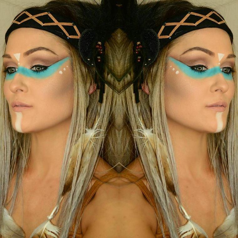 como se maquillan los ojos-cara-indios