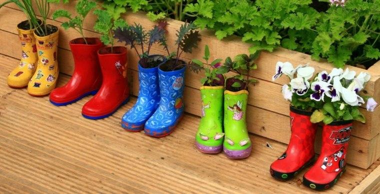 decoracion de macetas-botas-goma-jardines