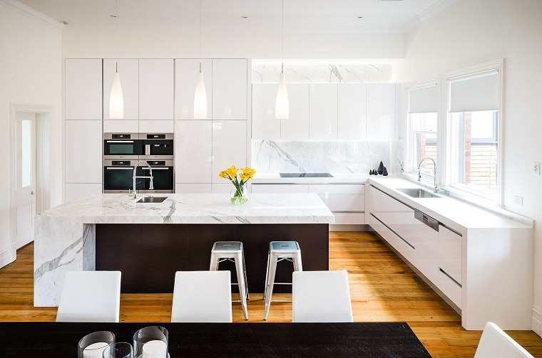 decoración para cocinas diseno-contemporaneo-blanco-negro