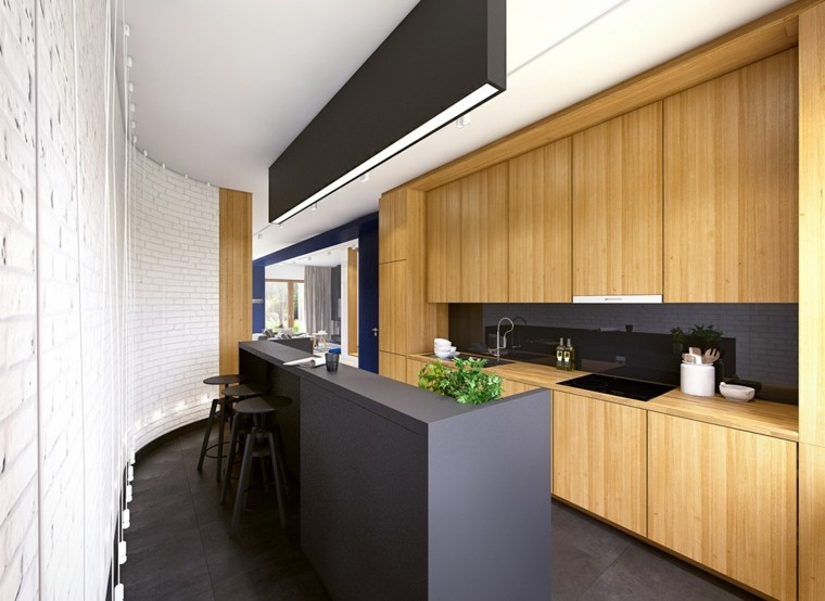 Diseños de cocinas modernas en negro con detalles de madera -