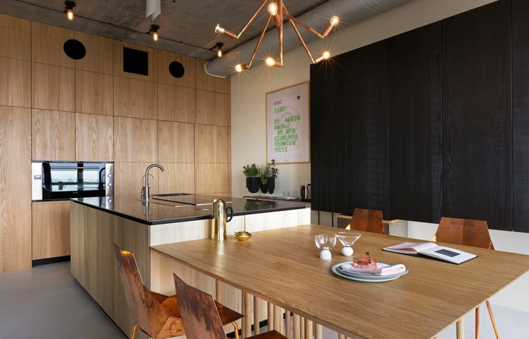 diseños de cocinas modernas -combinacion-negro-madera