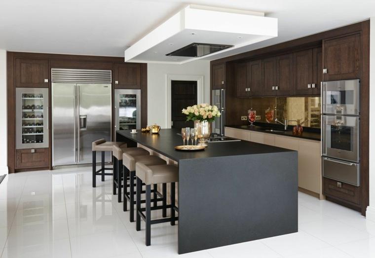diseños de cocinas modernas -idla-negra-muebles-madera