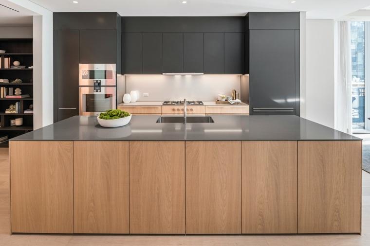 Dise os de cocinas modernas en negro con detalles de madera for Disenos de cocinas grandes