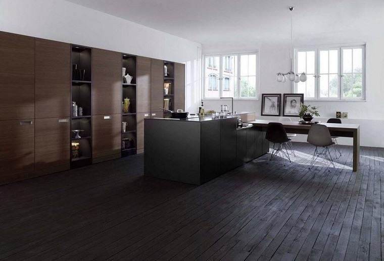dise os de cocinas modernas en negro con detalles de madera. Black Bedroom Furniture Sets. Home Design Ideas