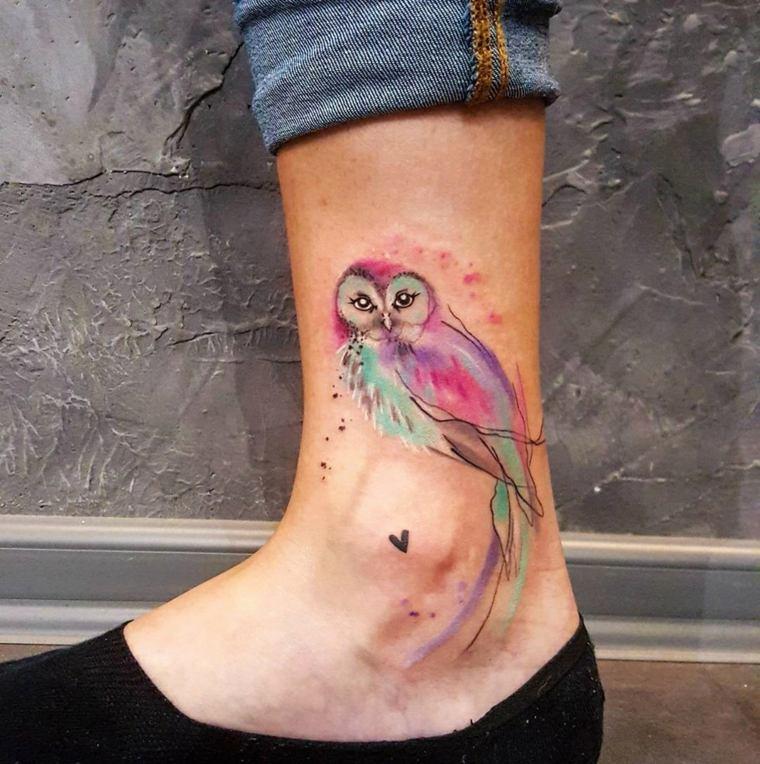 disenos de tatuajes-colores-pie-buhos