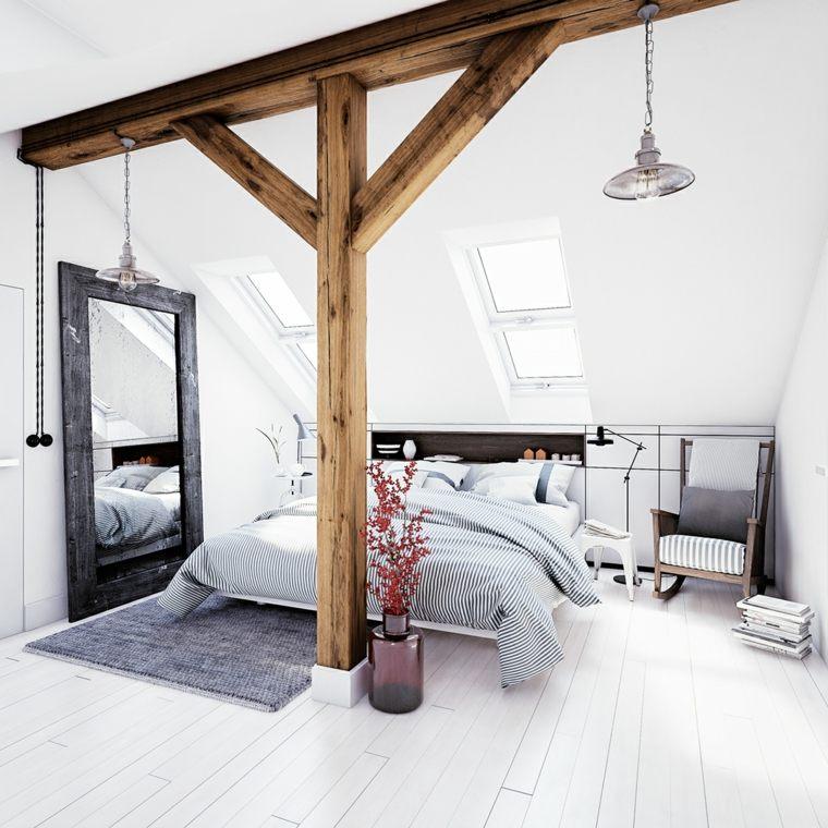 dormitorio-blanco-vigas-madera-expustas-ideas