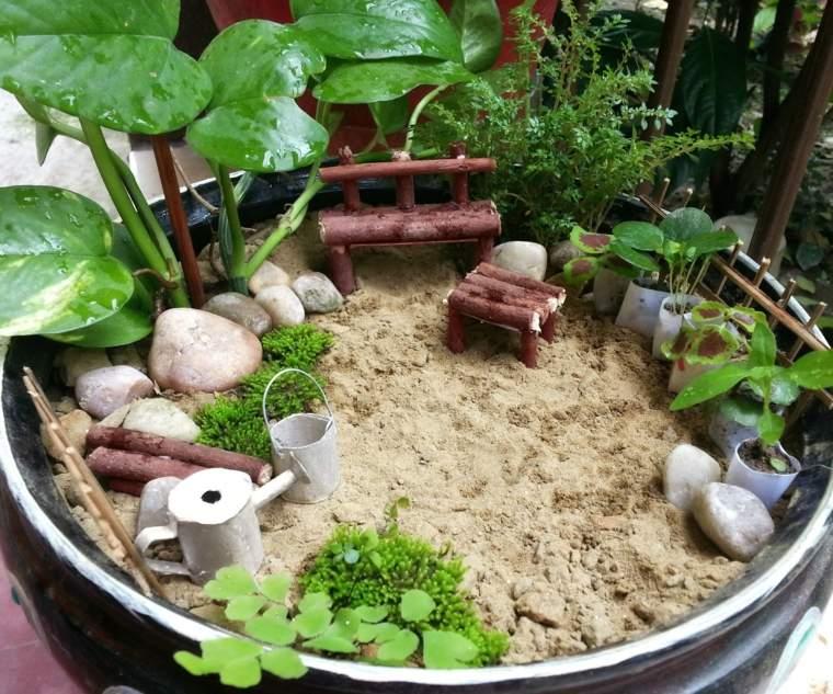 maceteros decorados-jardines-pequenos