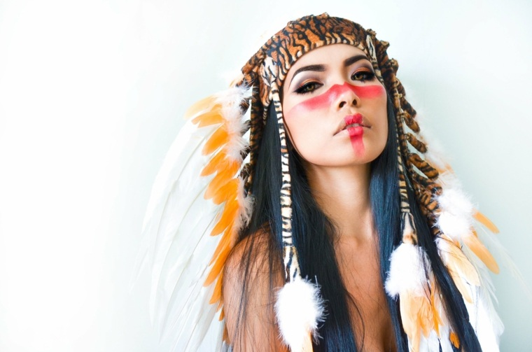 maquillaje de ojos-cara-indio-carnaval