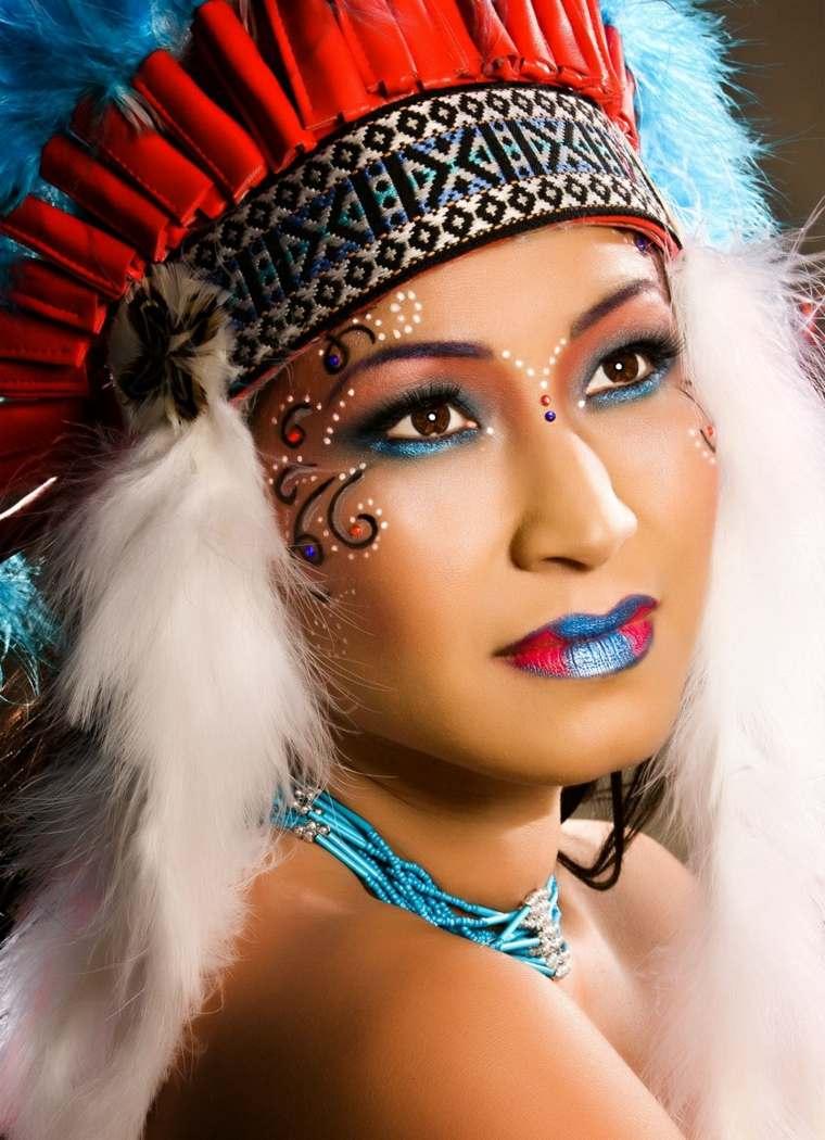 maquillaje para ojos-cara-indio-carnaval