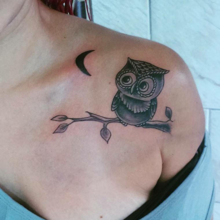 tatuajes femeninos-hombro-buho