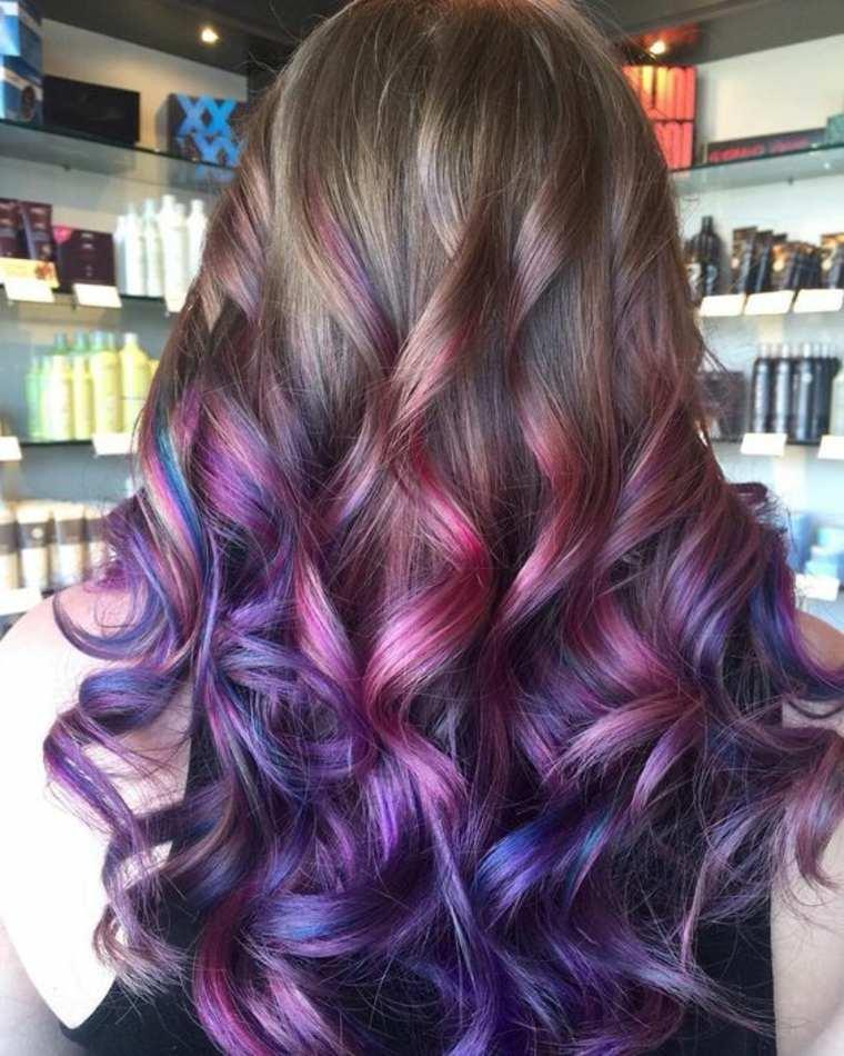 estilo Balayage violeta y rosado