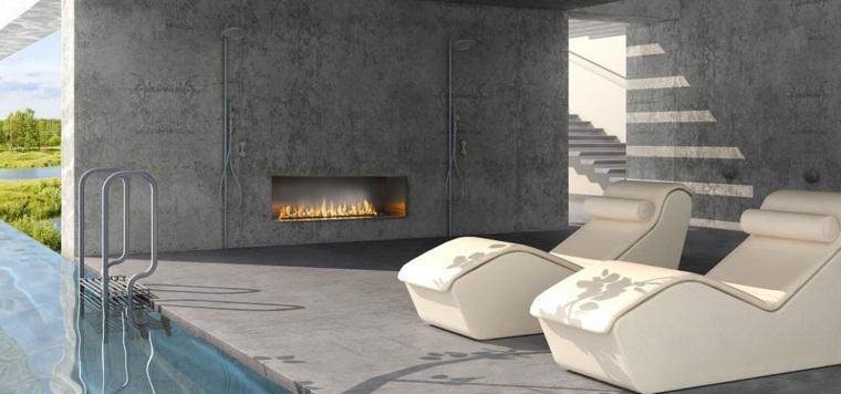 patio con chimenea de estilo moderno