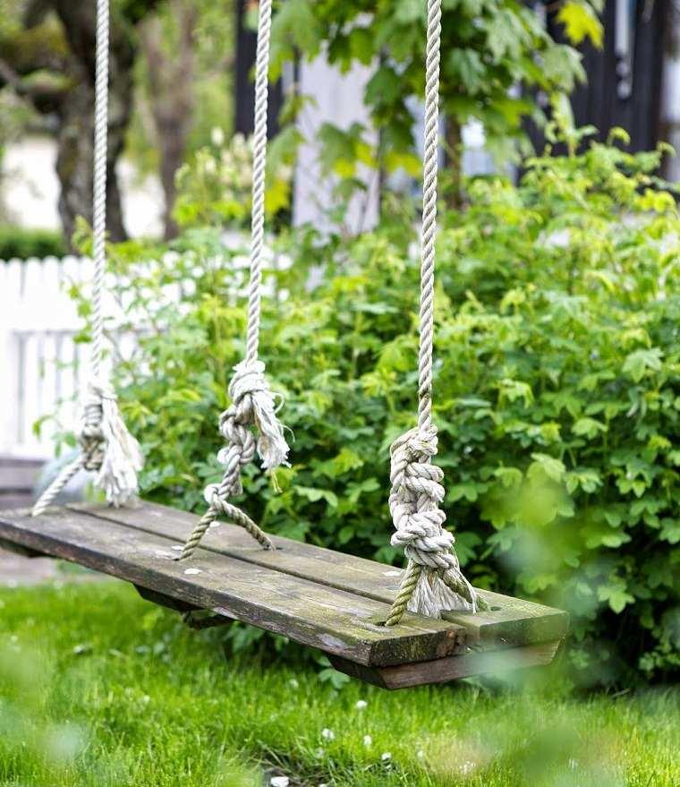 columpios para jardín-disenos-simple-madera