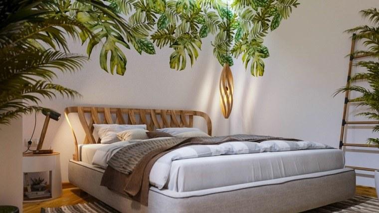 cómo decorar una recámara estilo-tropical-cama-original